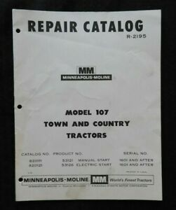 1963 1968 Minneapolis Moline Model 107 Town Country Lawn Tractor Parts Manual