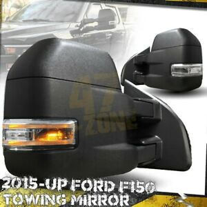 For 15 19 F 150 F150 Towing Mirror Extendable Heated Led Signal 22 Pin Black
