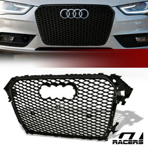 For 2013 2016 Audi A4 S4 B8 5 Black Rs Sport Honeycomb Mesh Bumper Grill Grille
