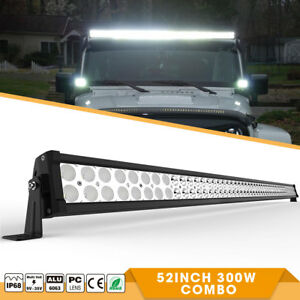 52inch 300w Led Light Bar Flood Spot Offroad Driving Lamp Fit Jeep Ford Suv Boat