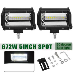 2pcs 5 Inch 12v 672w Led Work Light Bar Spot Pods Driving Off Road Tractor 4wd