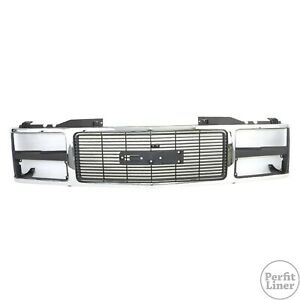 Chrome Silver black Grille Dual Head Lamp For 88 93 Gmc C k Truck Yukon Suburban