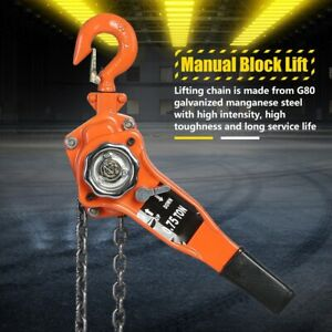0 75 Ton Chain Puller Block Fall Chain Lift Hoist Hand Tools Chain With Hook Usa