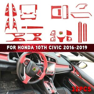 32pcs Red Interior Accessories Fit For Honda 10th Civic 2016 2019
