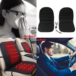 2pcs Thickening 12v Heated Car Seat Covers Pad Cushion Heating Heater Warmer