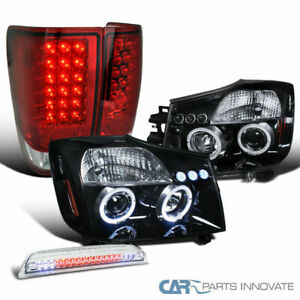 For 04 15 Titan Glossy Black Projector Headlights red Led Tail clear 3rd Brake
