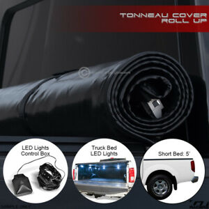 For 2005 2019 Nissan Frontier 5 Ft Bed Lock Roll up Tonneau Cover led Lights