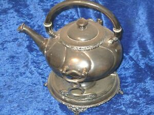 Antique Meriden B Tilting Silver Plated Teapot On Stand Warmer