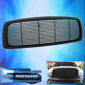 For 02 05 Dodge Ram 1500 2500 3500 Black Abs Front Bumper Hood Mesh Grill Grille