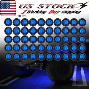 50x Round Blue Led Rock Lights For Jeep Offroad Truck Atv Utv Underbody Wheel
