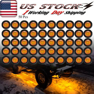 50x Round Amber Led Rock Light For Jeep Offroad Truck Bed Under Body Fog Lights