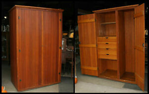 Antique 2 Door Pine Wainscot Deep Cabinet Wardrobe W Inside Drawers Locks