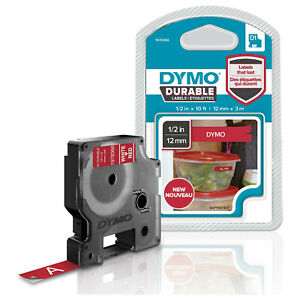 Dymo D1 Durable Labeling Tape For Labelmanager Label Makers White Print On Red