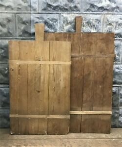 Pair Vintage French Wooden Bread Boards Charcuterie Boards Cutting Boards D