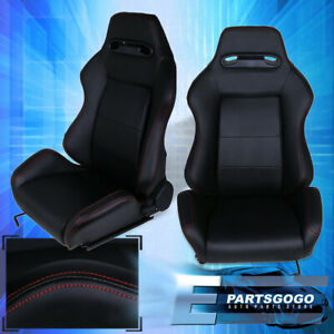Black Type r Cloth Racing Bucket Seats Fully Reclinable Red Stitching Pairs 2x