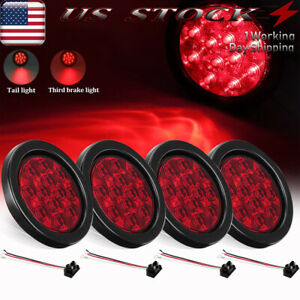 4x 12 Led Truck Trailer Stop turn tail Brake Lights 4 Round Sealed Mount Red