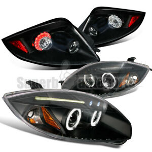 For 2006 2011 Mitsubishi Eclipse Halo Projector Headlights led Tail Lights Black