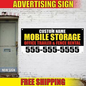 Mobile Storage Banner Advertising Vinyl Sign Flag Office Trailer Fence Rental