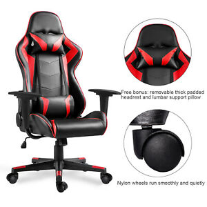 Office Pu Leather Recline Chair Computer Racing Gaming Chair W n Pillow Red Seat