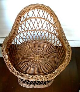 Vintage Child Wicker Chair Unique Round Style Natural Wood No Paint Great