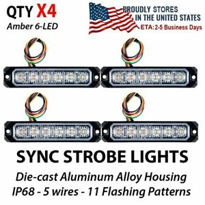 4x 30w Sync Amber Emergency 6 Led Strobe Lights Flashing Warning Truck 12v 24v