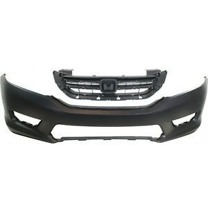Bumper Cover Kit For 2013 2015 Honda Accord Front 2pc With Grille Primed