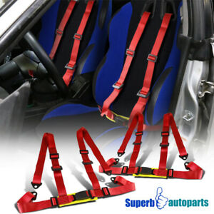 Pair Red Racing Seat Belts 4 Point 4pt Safety Harness