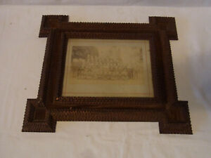 Antique German Tramp Art Picture Frame Chip Carved Picture 11 3 4 X 13 5 8 Bs