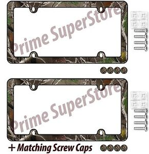 2 Camouflage Hunting Nature Black License Plate Frame Car truck Tag Holder Screw