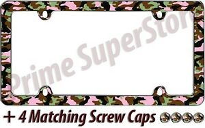 Camouflage Girl Hunting Chrome pink License Plate Frame Car truck Tag Holder New