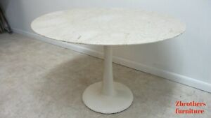 Vintage Mid Century Tulip Hour Glass Marble Top Center Dining Dinette Table