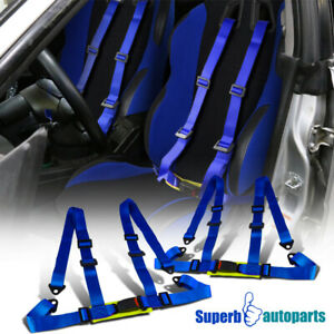 Pair Blue Racing Seat Belts 4 Point 4pt Safety Harness