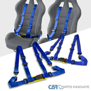 2 Strap Blue 4 Point 4pt Safety Buckle Harness Jdm Racing Seat Belt Pair