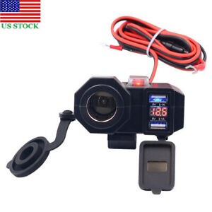 Motorbike Motorcycle ATV 12V LED Voltmeter Dual USB Charger Power Outlet Socket