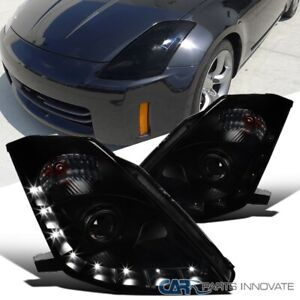 For 06 09 350z Z33 Fairlady hid Type Black Smoke Led Drl Projector Headlights
