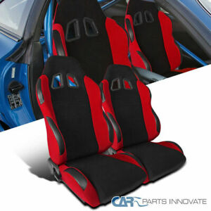 For Pair Jdm T R Style Black Red Cloth Left Right Side Racing Seats Reclinable