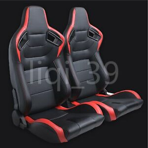 Universal 2pcs 3d Full Wrapleather Racing Seats Reclinable Bucket Seat Red Car