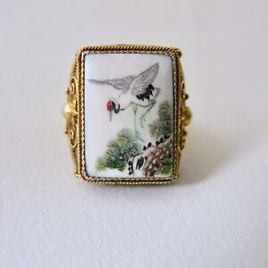 Chinese Export Silver Gilt Ring Bovine Bone Carved Painted Crane Butterfly 7g