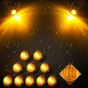 10x 3 4 Amber Small Round 3 Led Button Light Side Marker Lights Truck Trailer