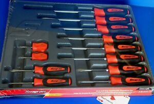 Snap On Tools 12 Piece Instinct Orange Soft Grip Combination Screwdriver Set New
