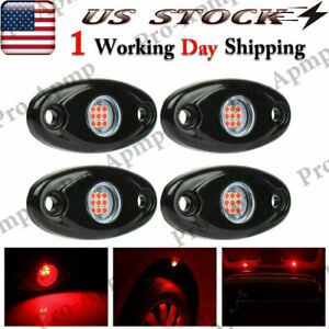 Red Led Rock Lights W 4 Pods For Jeep Off Road Truck Boat Underbody Fog Light