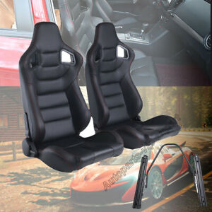 2 X Universal Racing Seats Leather Recline 2 Slider Black Adjustable Sport Seat