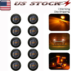 10x Smoked Led Side Marker Light Amber 3 Smd Clearance Lights For Trailer Truck