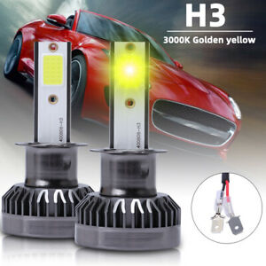Mini 3000k Golden Yellow H3 Led Headlight Bulbs Kit Fog Light Beam 200w 28000lm