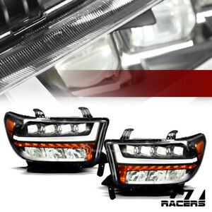 For 07 13 Tundra Sequoia Blk Full Led Sequential Tube Quad Projector Headlights