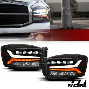 For 2006 2009 Dodge Ram Black Full Led Sequential Tube Quad Projector Headlights