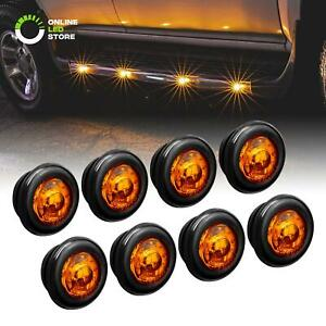 8pc 3 4 Round Dot P2pc Amber Led Bullet Clearance Marker Lights For Trailer