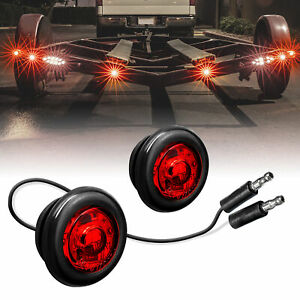 2pc 3 4 Round Dot P2pc Red Led Bullet Clearance Marker Lights For Trailer