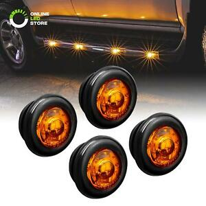 4pc 3 4 Round Dot P2pc Amber Led Bullet Clearance Marker Lights For Trailer