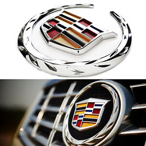 6 Inch Front Grille Emblem Hood Badge For Cadillac Chrome Symbol Ornament